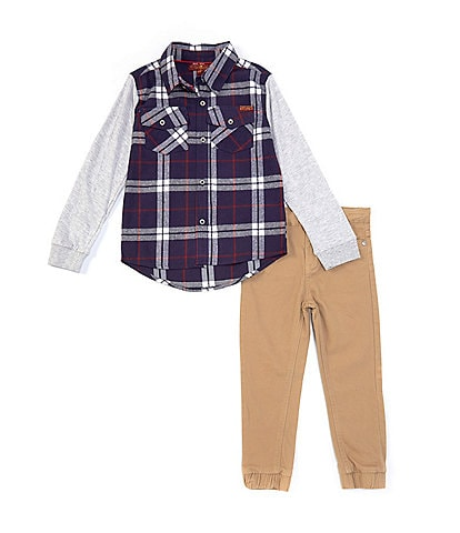 7 for all mankind Little Boys 4-7 Long-Sleeve Pieced Plaid Shirt & Twill Jogger Set