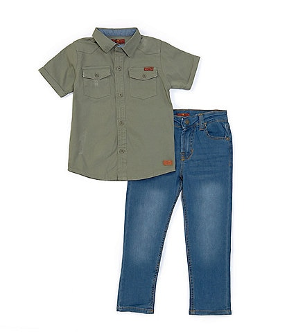 7 for all mankind Little Boys 4-7 Short-Sleeve Twill Shirt & Denim Jeans Set