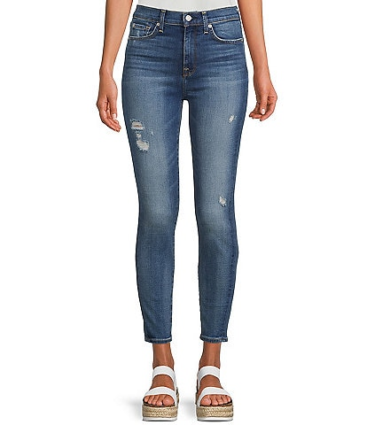 7 for all mankind Ski High Waist Distressed Hem Detail Skinny Jeans