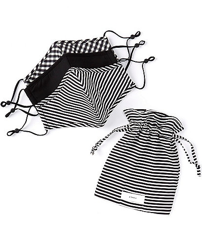 A Loves A 3 Piece Adjustable Black Stripe Multi Print Adult Cloth Face Mask Set with Pouch