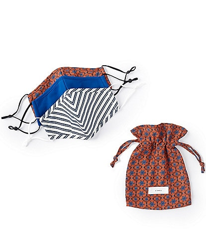 A Loves A 3 Piece Adjustable Copper Multi Print Cloth Face Mask Set with Pouch