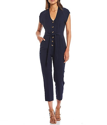A Loves A Belted Cap Sleeve V-Neck Button Down Jumpsuit