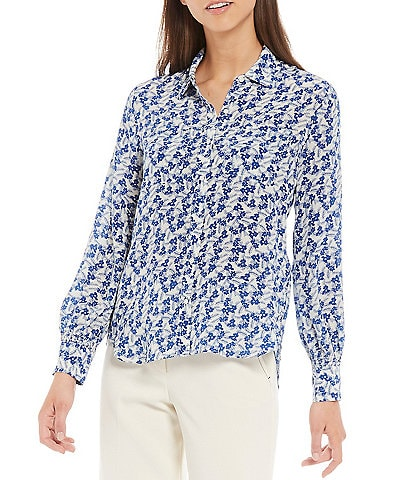 A Loves A Button Down Smocked Cuff Detail Floral Print Classic Silk Shirt