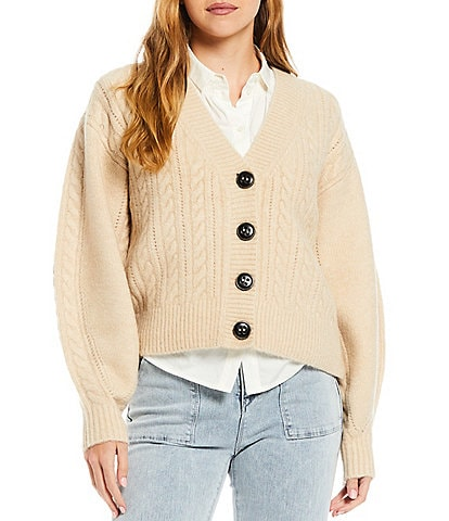 A Loves A Cable Sweater Button Up Long Bishop Sleeve V-Neck Cardigan