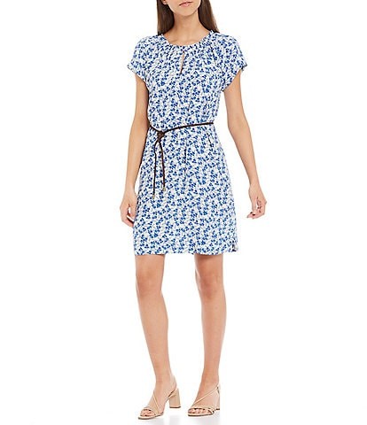 A Loves A Cap Sleeve Ruffle Neck Trim Detail Floral Print Belted Dress