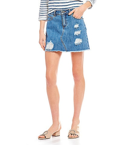 A Loves A Destructed 5 Pocket Frayed Hem Denim Jean Skirt