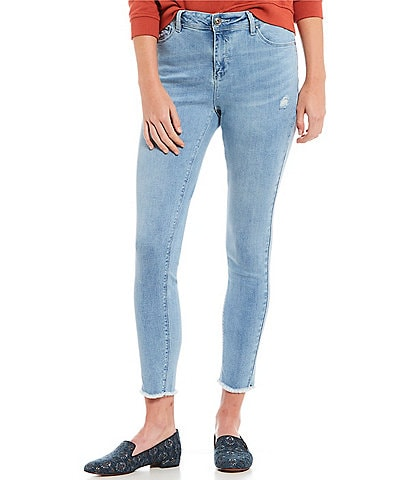 A Loves A Distressed Light Wash Ankle Skinny Jean