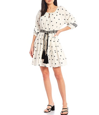 A Loves A Embroidered 3/4 Sleeves Belted Round Neck Boho Dress