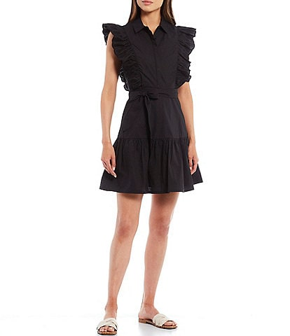 A Loves A Embroidered Butterfly Sleeves Belted Button Front A-Line Poplin Dress