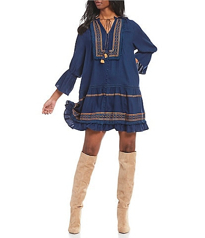 A Loves A Embroidered Tassel Poet Sleeve Ruffle Hem Prairie A-Line Dress