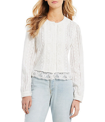 A Loves A Eyelet Lace Trim Button Front Shirt