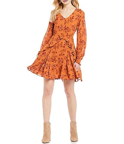 A Loves A Floral Print V-Neck Ruffle Bishop Sleeve A-Line Mini Dress