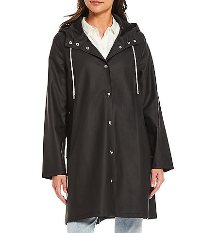 A Loves A Hooded Snap Front Long Sleeve Pocketed Raincoat