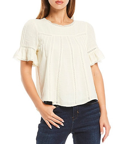 A Loves A Lace Inset Short Sleeve Blouse