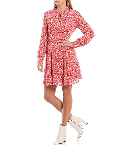 A Loves A Long Sleeve Small Floral Print Crepe A-Line Dress