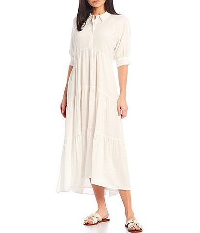 A Loves A Loose Fit Elbow Sleeve Tiered Midi Dress