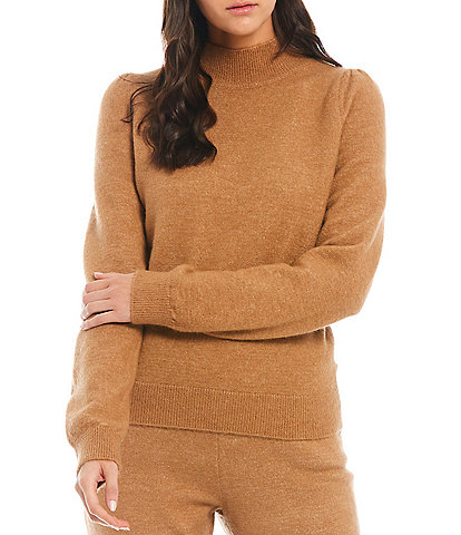 A Loves A Mock Neck Jersey Knit Long Sleeve Coordinating Sweater