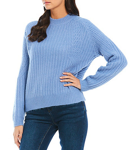 A Loves A Novelty Long Raglan Sleeve Stitch Crew Neck Sweater
