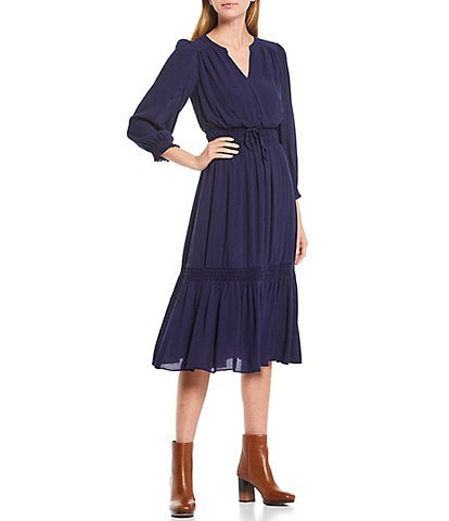 A Loves A Peasant V-Neck 3/4 Sleeve Midi Dress