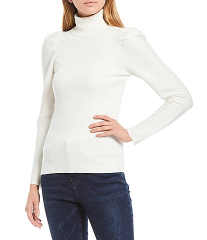 A Loves A Pleated Victorian Sleeve Detail Turtleneck Sweater