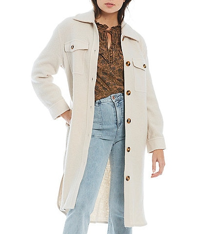 A Loves A Point Collar Long Sleeve Oversized Shacket