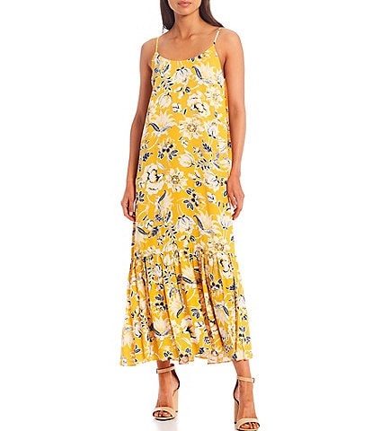 A Loves A Printed Sleeveless Scoop Neck Maxi Dress