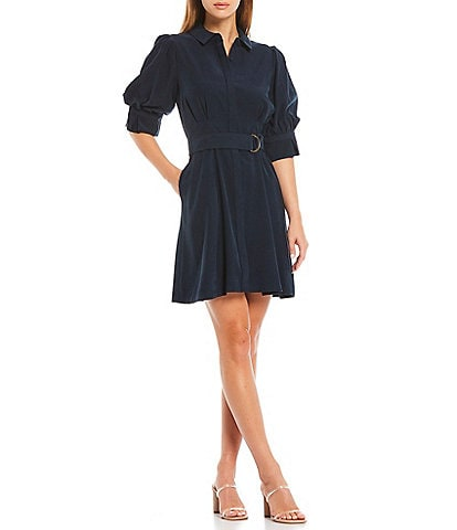 A Loves A Puff Sleeve Belted Button Down Shirt Dress