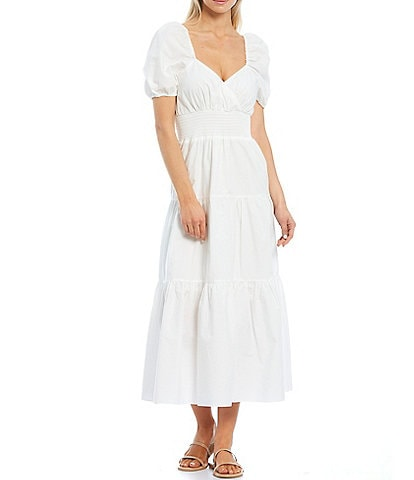 A Loves A Puff Sleeves and Smocked Waist Tiered Poplin Dress