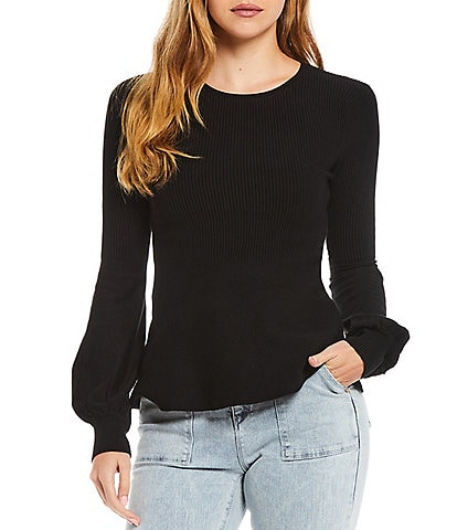A Loves A Round Neck Long Statement Bishop Sleeve Rib Knit Sweater