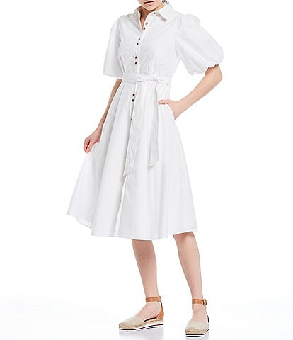 A Loves A Short Puff Sleeve Button Down Tie Waist Cotton Poplin Midi Shirt Dress