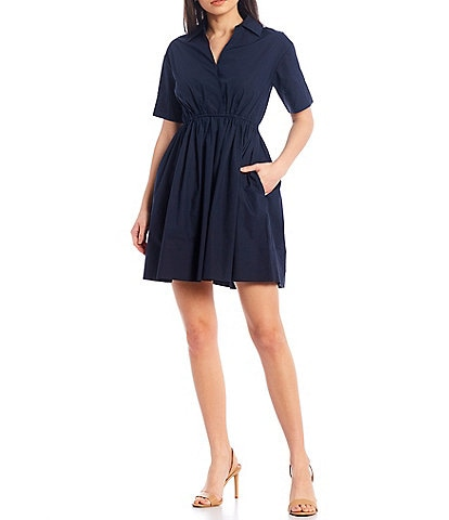 A Loves A Short Sleeve Poplin Cotton Cinched Waist Shirt Dress