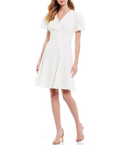 A Loves A Short Sleeve Wrap Button Down Detail Eyelet Dress