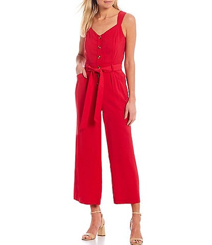 A Loves A Sleeveless Button Front Belted Jumpsuit
