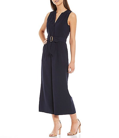 A Loves A Sleeveless V-Neck Belted Crop Twill Jumpsuit