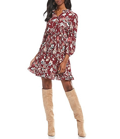 A Loves A Smocked Waist Floral Print Balloon Sleeve Blouson Dress