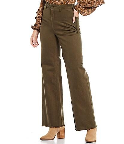 A Loves A Wide Leg Stretch Denim High Rise Jeans