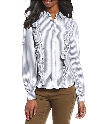 A Loves A Stripe Victorian Ruffle Bishop Sleeve Button Front Shirt