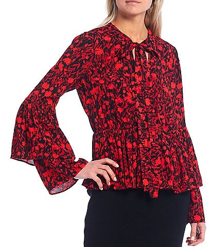 A Loves A Tie Neck Layered Long Sleeve Floral Print Blouse