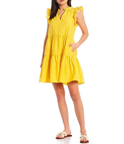 A Loves A Tiered Ruffle Poplin Shift Dress