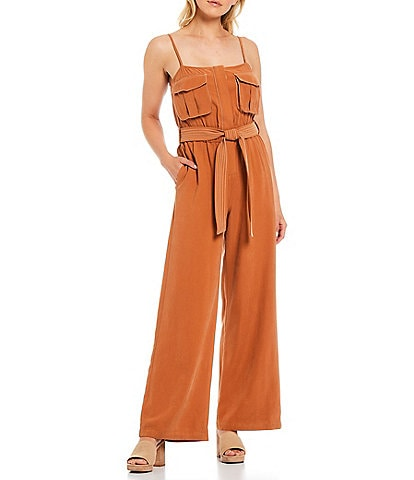 A Loves A Top Stitch Sleeveless Square Neck Tie Belt Utility Jumpsuit