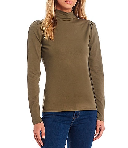 A Loves A Nicole Turtleneck Puff Long Sleeve Jersey Knit Top