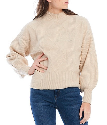 A Loves A Mock Neck Long Puff Sleeve Ribbed Hem Cable Statement Sweater