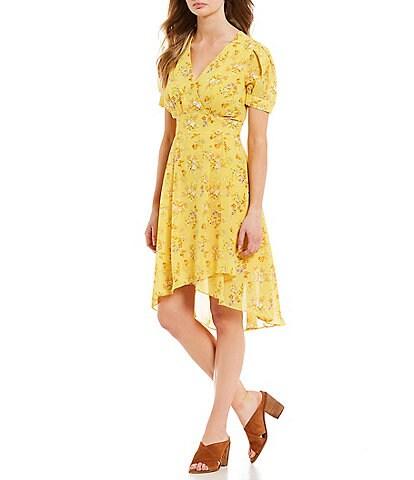 A Loves A Floral Print Puff Sleeve Hi-Low Wrap Dress