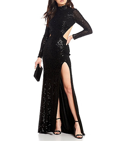 Abbi Vonn by La Femme Long Sleeve Mock-Neck Sequin Cut-Out Side Slit Long Dress