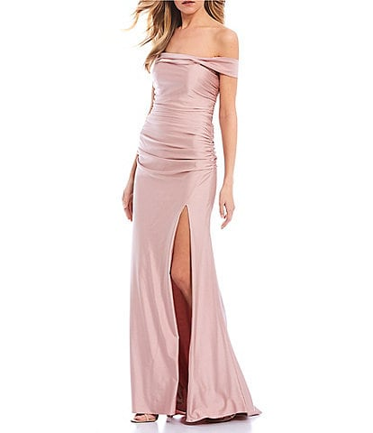Abbi Vonn by La Femme Off-the-Shoulder Lace-Up Back Ruched Bodice Side Slit Satin Sheath Long Dress