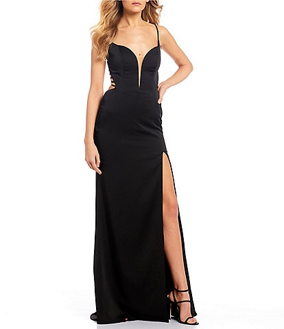 Abbi Vonn by La Femme Spaghetti Strap Cage-Back Side Slit Jersey Long Dress