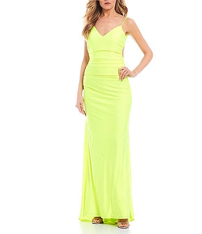 Abbi Vonn by La Femme Spaghetti Strap Ruched Bodice Satin Fitted Long Dress