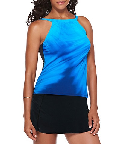Active Spirit Aqua Ferns High Neck Tankini Top & Tummy Control Solid Swim Skirt