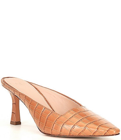 AD & Daughters Adeline Croc Embossed Leather Mules