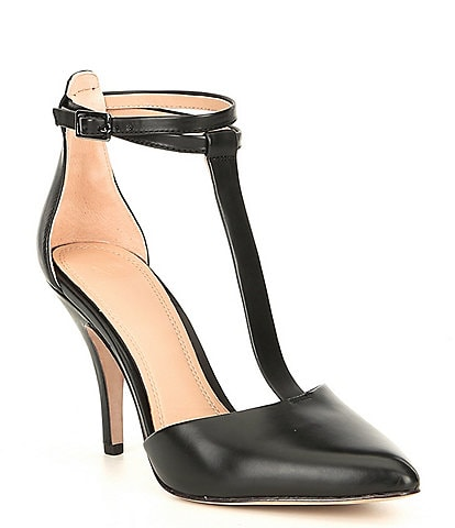 AD & Daughters Canille Leather Closed Toe T-strap Pumps